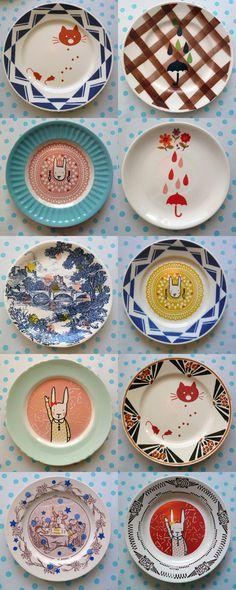 Beautiful & handmade plates by Lapin Citron. Pottery Painting, Ceramic Painting, Ceramic Art, Ceramic Plates, Ceramic Pottery, Decorative Plates, Duktig, Plate Design, Deco Design