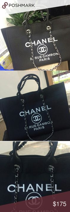 880166893ffb6c Deauville denim tote bag in black Brand New. Deauville tote bag in black.  As pictured, price is firm. CHANEL Other