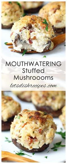 mushroom recipes Mouthwatering Stuffed Mushrooms Recipe: Mushrooms are filled with a savory mixture of cream cheese and bacon, then baked until piping hot in this classic appetizer even mushroom haters will devour. Mushroom Appetizers, Vegetable Appetizers, Hot Appetizers, Appetizers With Cream Cheese, Delicious Appetizers, Vegetarian Appetizers, Vegetable Drinks, Beef Recipes, Cooking Recipes