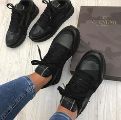 Valentino Shoes for Women - Designer Shoes - Farfetch Valentino Sneakers Valentino, fashion, and mode Sneakers Mode, Sneakers Fashion, All Black Sneakers, Fashion Shoes, Yeezy Sneakers, Tenis Casual, Casual Shoes, Casual Sneakers, Cute Shoes