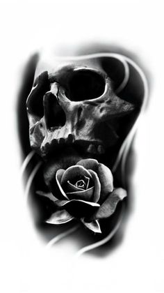 37 Ideas For Tattoo Designs Skull Skeletons Evil Skull Tattoo, Skull Rose Tattoos, Skull Sleeve Tattoos, Skeleton Tattoos, Tattoo Sleeve Designs, Black Tattoos, Body Art Tattoos, Cool Tattoos, Skull Hand Tattoo