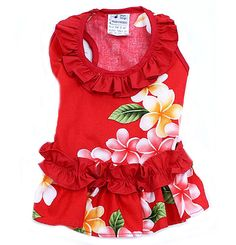 Red FlowerRuffle Hawaiian Dog Dress   Colorful Red Flower RuffleHawaiian Dog Dress with a colorful large flower print. Ruffles around the neck and at the waist. Sleeveless. Made in Hawaii, this Hawaiian dog dress is perfect no matter where you live, ideal to wear in the summertime, lounging around the pool, walking on the boardwalk or shopping. Hawaiian themed wear is essential when attending a Hawaiian Luau, Hawaiian themed party or Hawaiian themed wedding. Don't forget the Shades!