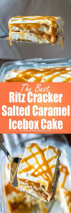 Ritz Cracker Salted Caramel Icebox Cake – Delicious recipes to cook with family and friends. Frozen Desserts, Easy Desserts, Delicious Desserts, Yummy Food, Fun Food, Icebox Desserts, Frozen Treats, Cheesecakes, Yummy Treats