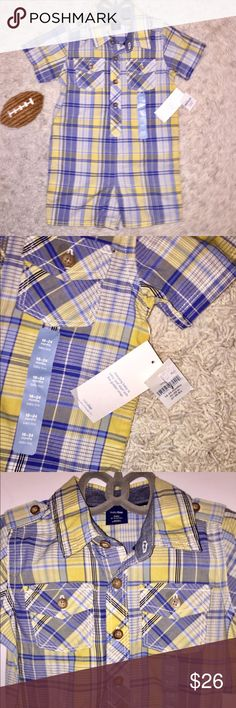 NWT BabyGap Plaid madras shorty one-piece Sz 18-24 100% Cotton Size 18-24 months New with Tags Baby Gap Collared Shortie One- Piece Outfit. So Cute!!!                  Smooth cotton madras. Short sleeves. Spread collar, button front. 2 Patch pockets on either side of chest. Allover plaid. Snaps at inseam for easy dressing and diapering. GAP One Pieces