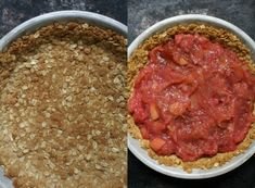 Rhubarb Custard Pie with an Oatmeal Cookie Crust - Dinner With Julie Raspberry Rhubarb Pie, Rhubarb Custard Pies, Rhubarb Desserts, Rhubarb Cake, Rhubarb Recipes, Pie Recipes, Dessert Recipes, Cooking Recipes, Recipies