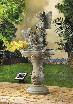 Fairy Solar Water Fountain My yard is looking pretty empty and I have been looking for decoration ideas. I like the look of water fountains, and have wanted to get one for awhile. After seeing this, I think a solar fountain would be a great option for me.