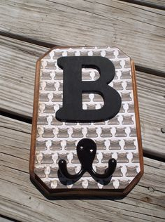 Monogram Letters Wood Wall  Hook Plaque  Decor by ReadinginRags, $14.98 Diy Wall Hooks, Monogram Letters, Wood Wall, Wood Crafts, Etsy, Decor, Wood Walls, Decorating, Woodworking Crafts