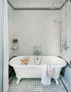 decormag - bathrooms - exposed plumbing, exposed shower plumbing, rain shower head, tub in shower, bathtub in shower, shower bath combo, bat...