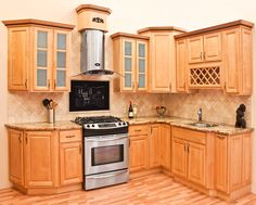Richmond All Wood Kitchen Cabinets, Honey Stained Maple, Group Sale AAA