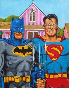 Batman & Superman American Gothic Parody
