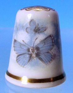 Vintage SPODE Bone China BLUE BUTTERFLIES Collectible Thimble
