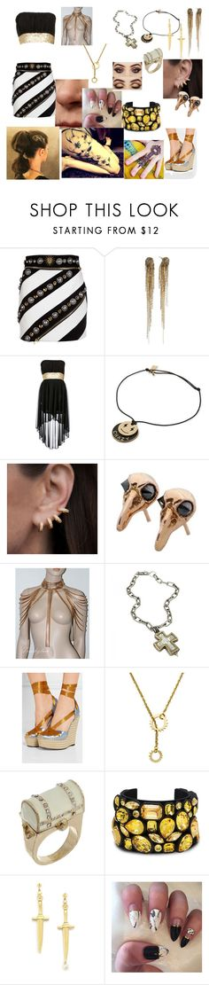 """Silver and gold"" by frostbiten ❤ liked on Polyvore featuring FAUSTO PUGLISI, La Môme, Anne Sisteron, Skyler Man, Gucci, Hiro + Wolf, Miss Selfridge, STELLA McCARTNEY, Pamela Love and Fiori"