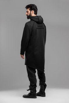 Men's long cardigan, hooded asymmetric coat, steampunk jedi style, oversized gothic jacket, A0326 Asymmetrical Coat, Asymmetrical Design, Mens Long Cardigan, Gothic Jackets, Badass Outfit, Urban Outfits, Steampunk Fashion, Hoods, Model