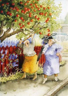 """Inge, Look, It's Raining Apples Into Your Bag!""~ Artist: Inge Look. Bff Abbildungen, Old Lady Humor, Alphonse Mucha, Whimsical Art, Old Women, Finland, Illustrators, Cool Art, Illustration Art"