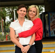 Acorn tv promotional photo featuring Marta Dusseldorp and Anita Hegh from season 3 of Janet King. Bianking lives 😍 #Bianking