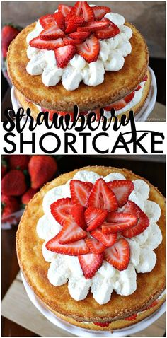 Strawberry Shortcake Cake is a rustic vanilla layer cake filled with a whipped cream cheese frosting and fresh strawberries. Easy, impressive, and SO good! | www.persnicketyplates.com AD #BuschsMarket