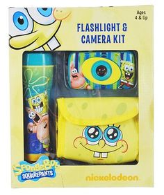 Nickelodeon SpongeBob SquarePants Flashlight & Camera Kit by Sakar International. $12.70. By Nickelodeon. Package contains camera, flashlight knapsack camera case. Uses any 35mm slide or film. Flashlight illuminates 10 ft. Uses 2 AA batteries. Perfect for hours of indoor or outdoor fun.