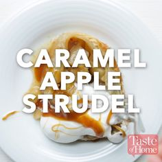 Caramel Apple Strudel Recipe Reminds me of Apple Jacks Tasty Videos, Food Videos, Delicious Desserts, Dessert Recipes, Yummy Food, Appetizer Recipes, Apple Recipes, Sweet Recipes, Dishes Recipes