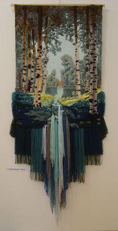 Morgenlicht: Yuri N. Hovsepian - tissage - - Ideias e Fios Art Fibres Textiles, Textile Fiber Art, Weaving Textiles, Weaving Art, Tapestry Weaving, Loom Weaving, Art Au Crochet, Art Fil, Weaving Wall Hanging
