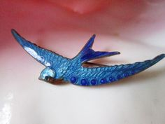 $59.99  Victorian Blue Bird Swallow Guilloche Enamel Pin BROOCH-VINTAGE-Symbol of Love and Loyalty-Very Good Condition by JEANIESPLACE on Etsy