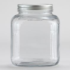 Secure your favorite snacks or dry ingredients in our Glass Storage Jar with Aluminum Lid. The airtight twist-on lid prevents foods from going stale in case you want to stock up your pantry. Plus, a few of these attractive and affordable glass jars are ideal for organizing shelf space.