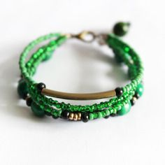 Bracelet 4 rangs vert