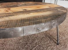 Coffee Tables - Reclaimed Wood Oval Coffee Table / With Drawer - Free Shipping - JW Atlas Wood Co. - 2