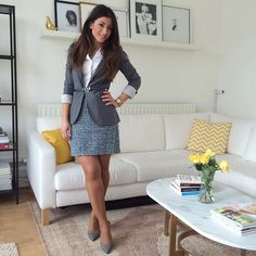 Mimi Ikonn | Botton down white shirt, grey blazer, houndstooth skirt