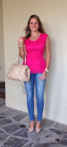 Look de trabalho - Look do dia - moda corporativa - casual friday - peplum pink - calça jeans