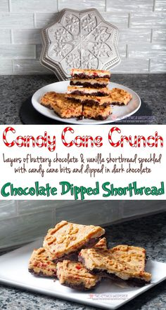 Candy Cane Crunch Chocolate Dipped Shortbread