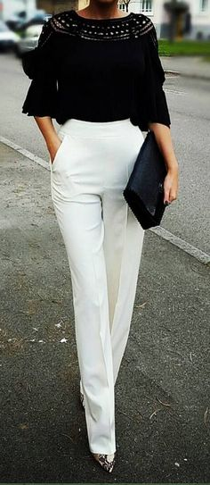 cool Latest fashion trends: Office look | High waist chic white pants with black top and pointed shoes