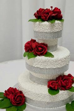 Wedding cake - white, red roses & diamonds or pearls - classy