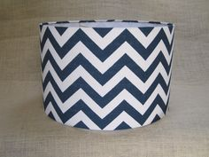 Lamp Shade Drum Lampshade Pendant Navy Zigzag by SweetDreamShades, $77.00