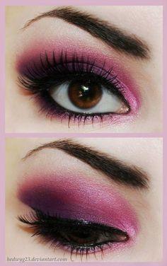 maquillage rose et violet pour yeux marron