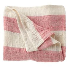 The Land of Nod | Kids Blankets: Pink Striped Throw Blanket in Baby Quilts & Blankets