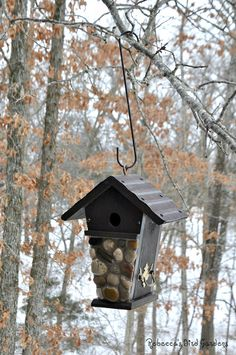Rustic Hanging Rock Birdhouse The Tudor by RebeccasBirdGardens