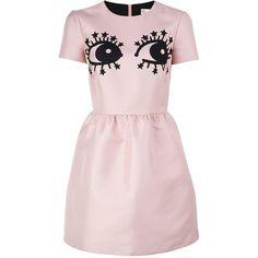 Redvalentino Novelty Eye Print Dress ($705) ❤ liked on Polyvore featuring dresses, pink, short mini dress, print dress, short pink skirt, stretch dress and short miniskirt