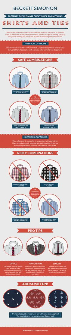 Ultimate cheat guide to matching shirts and ties [infographic] Sharp Dressed Man, Well Dressed, Tie Pattern, Pattern Mixing, La Mode Masculine, Herren Outfit, Men Style Tips, Men Tips, Suit And Tie