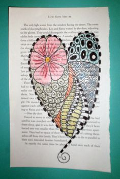 zentangle heart on book page Tangle Doodle, Doodles Zentangles, Zen Doodle, Zentangle Patterns, Doodle Art, Book Crafts, Hobbies And Crafts, Pastel Crayons, Doodle Frames