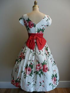 Vintage 1950s Party Dress Rose Print by CreatedAndCollected