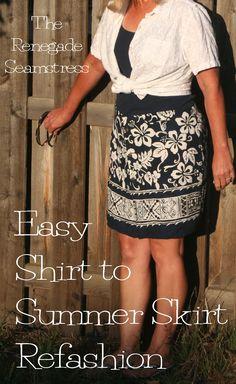Easy Men's Hawaiian Shirt to Skirt Refashion Tutorial