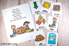 Fall the Leaves Rhyme with Word Card Activity