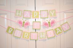 Butterfly Happy 1st Birthday Banner Birthday by lisamarDesigns, $28.00