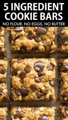 5 Ingredient Flourless Oatmeal Cookie Bars made with simple, easy ingredients! This recipe is eggless, vegan, gluten-free and ready in just 15 minutes! Soft, chewy and LOADED with chocolate flavor! Gluten Free Cookies, Gluten Free Baking, Gluten Free Desserts, Dairy Free Recipes, Vegan Desserts, Delicious Desserts, Sugar Free Muffins, Sugar Free Cookies, Spritz Cookies