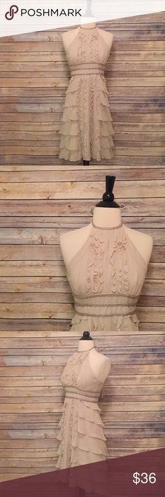 """BCBGMaxazria Ruffle Dress BCBGMAXAZRIA Ruffle Dress in excellent condition.  Bust 32"""" Length 37"""" BCBGMaxAzria Dresses"""
