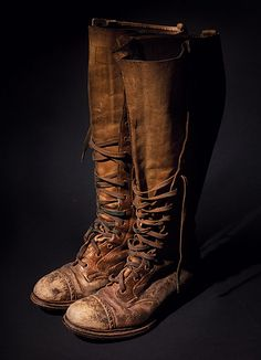 """depression-era abercrombie & fitch hiking boots: """"they came from a local beer craftsman and were once owned by his grandmother. not only did she have fine taste in hiking boots, she allegedly wore them to kenya back in the day, which really adds to my dream image of this lady."""""""