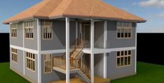 2 Bedroom House plan in Kenya with floor plans (amazing design) - Muthurwa.com Two Bedroom House Design, 2 Bedroom House Plans, Bungalow House Plans, Bungalow House Design, Contemporary House Plans, Contemporary Bedroom, Masonry Wall, Simple House Design, Thing 1