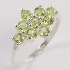925 Sterling Silver Delicate Ring Size US 6.75 Natural PERIDOT Faceted Gemstone #Unbranded