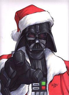 Santa Darth Vader by Scott Dalrymple Star Wars Christmas, Deadpool, Empire, Joker, Darth Vader, Superhero, Stars, Artist, Fictional Characters