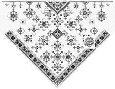 Nytt mønster til svartenastduk / skaut i svartsaum. Dette mønsteret er bl.a. bygget på deler fra gammelt skaut fra 1877 brukt i Voss. Flere mønster i svartsøm.